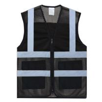 TOPTIE Asian Slim Fit High Visibility Mesh Safety Vest with Pockets, Multiple Color for Team Activity-Black-M