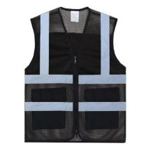 TOPTIE 2 Pockets High Visibility Zipper Front Mesh Safety Vest, Multiple Color for Team Activity-Black-3XL