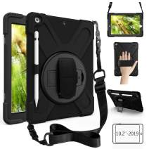 ZenRich New iPad 10.2 Case 2019, iPad 7th Generation Case with Pencil Holder, Rotatable Stand Hand Strap and Shoulder Belt, Shockproof Case for iPad 10.2 inch 2019 Tablet A2197/A2198/A2199/A2200-Black