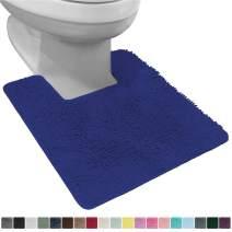 Gorilla Grip Original Shaggy Chenille Square U-Shape Contoured Mat for Base of Toilet, 22.5x19.5 Size, Machine Wash and Dry, Soft Plush Absorbent Contour Carpet Mats for Bathroom Toilets, Royal Blue