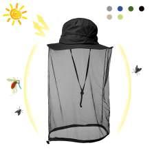 HOMEYA Mosquito Head Net Hat, Sun Safari Bucket Mesh Hat Anti Bee Netting Boonie Hat Cap Protector with Wide Brimmed for Men Women Outdoor Hiking Fishing Gardening Beekeeper
