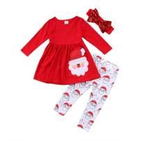 MODNTOGA Toddler Baby Girls Christmas Clothes Kids Dress Shirt+Santa Print Pants Sets +Bowknot Headband Outfits