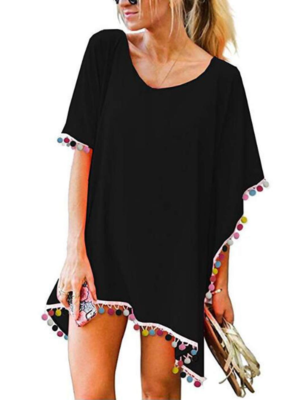 Womens Cotton Chiffon Beach Cover Up Ladies Summer Pool Kaftan Dress Size