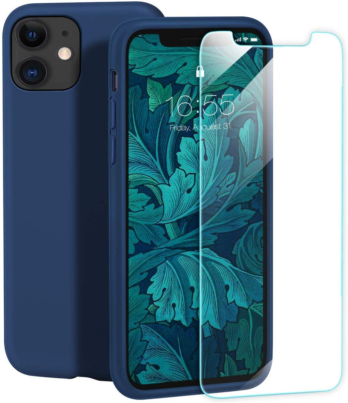 "IceSword iPhone 11 Case, Blue iPhone 11 Silicone Case, Gel Rubber Full Body, iPhone 11 Cute iPhone 11 case, Soft Microfiber Cloth, 6.1"" iPhone 11 case Silicone, iPhone 11 case Cute - Blue"