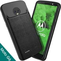 NEWDERY Moto G6 Battery Case, 4000mAh Moto G6 Slim Extended Charger Case with TPU Raised Bezels, Rechargeable Charging Case Cover Compatible for Motorola Moto G6th Generation (5.7 Inches Black)