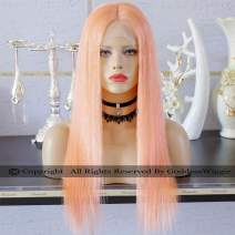 Super Straight Pink Orange Hair Colour Human Hair Lace Front Wigs Remi Hair Lace Wigs with baby hair colour (20inch 150%)