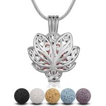 INFUSEU Lotus Flower Diffuser Necklace Aromatherapy Essential Oils Locket Pendant Jewelry with 5 PCS Lava Rock Stone for Women set