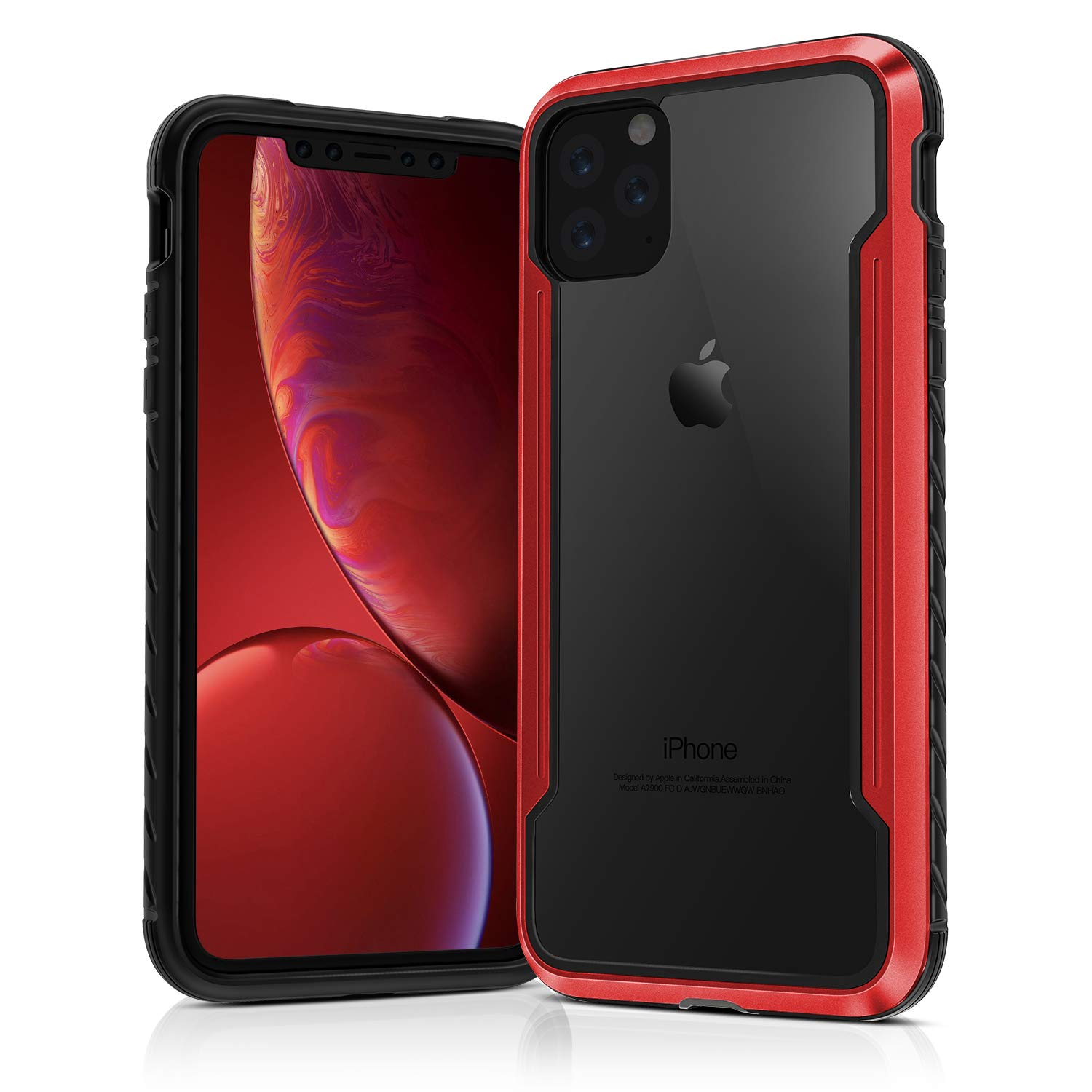 Compatible iPone 11 Pro Rugged Case,ASONRL Full Body Armor Phone Cases,Military Grade Drop Protection Tested,Heavy Duty Anodized Aluminum Frame, TPU and Clear PC Case for iphone11 Pro (Red)