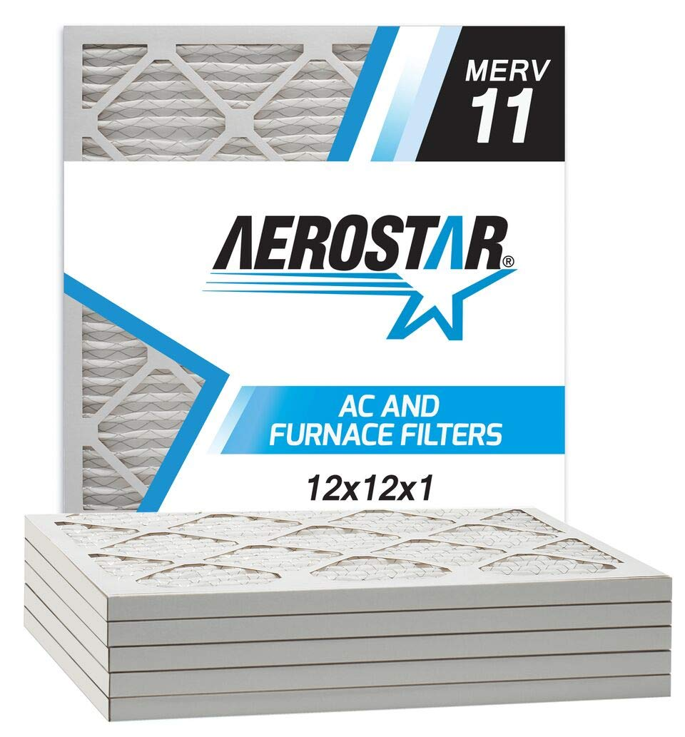 """Aerostar Allergen and Pet Dander 12x12x1 MERV 11 Pleated Air Filter Made in the USA Actual Size 11 3/4""""x11 3/4""""x3/4"""" 6 Pack"""