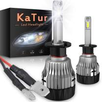 KATUR H1 Led Headlight Bulbs Extremely Bright 10000LM CREE Chips Mini Design All-in-One Headlight Conversion Kit 60W 6500K Xenon White-2 Years Waranty