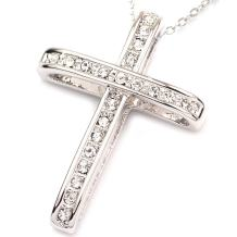 FC Jory White & Rose Gold Plated Crystal Rhinestones Cross Pendant Necklace