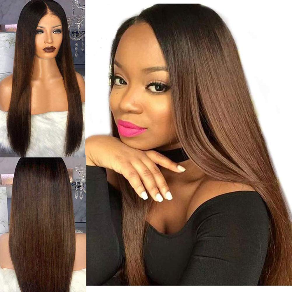 YILINHEXUAN 1B Brown Ombre Human Hair Lace Front Wigs for Black Women Glueless Brazilian Straight Lace Frontal Wigs with Baby Hair Pre Plucked Bleached Knots Real Hair Wigs 22 Inch 150%