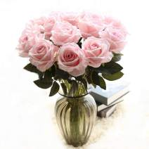 cn-Knight Artificial Flower 6pcs 22'' Long Stem Silk Velvet Rose Real Touch Faux Flower for Wedding Bridal Bouquet Bridesmaid Home Decor Office Hotel Baby Shower Party Prom Centerpiece(Light Pink)
