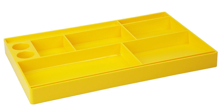 Acrimet Drawer Organizer Bin Multi-Purpose Storage for Desk Supplies and Accessories (Plastic) (Solid Yellow Color)