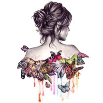 Geboor DIY Oil Painting Drawing with Brushes Paint, Paint by Number Kit for Adults Butterfly Beauty Girl Decoration 40x50CM