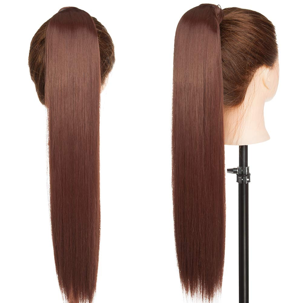 One Piece Ponytail Hair Extensions Clip in Wrap Around on Pony Tail 125G Thick Real Natural Synthetic Fibre Ponytail Hairstyle Hairpiece for Women Straight 23 inch light brown