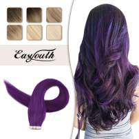 Easyouth Purple Hair Extension Tape In Hair 22inch 25Gram 10 Pcs Per Package Purple Color Hair Pu Tape Skin Weft Human Hair Extensions