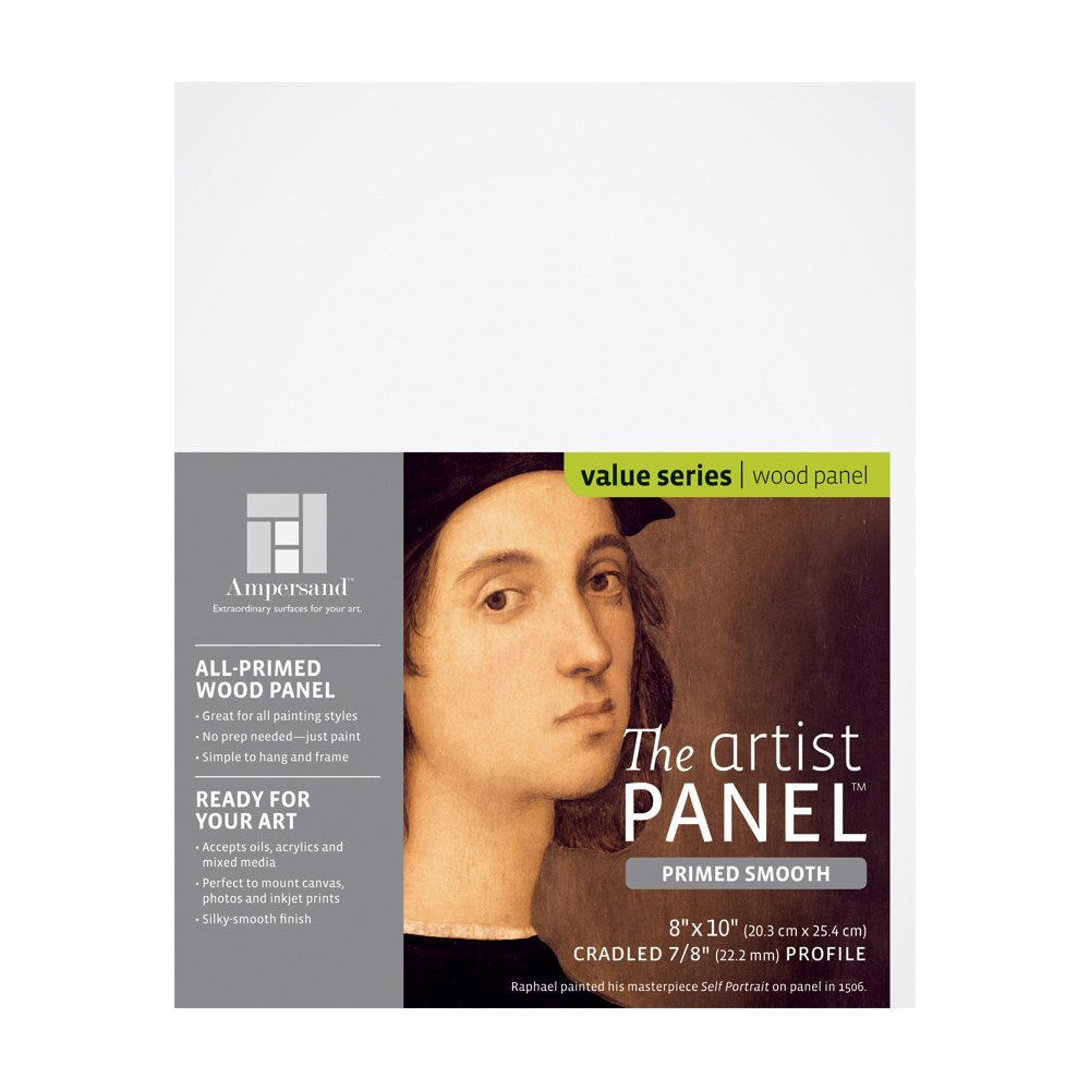 """Value Wood Art Painting Panel Primed Smooth by Ampersand 7/8"""" Cradled Profile 8""""x10"""""""
