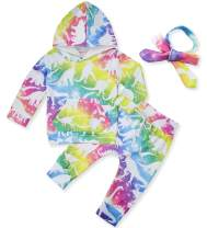 ALISISTER Newborn Baby Girl Outfit Clothes Hoodie Pants with Headband 3 Pcs Set