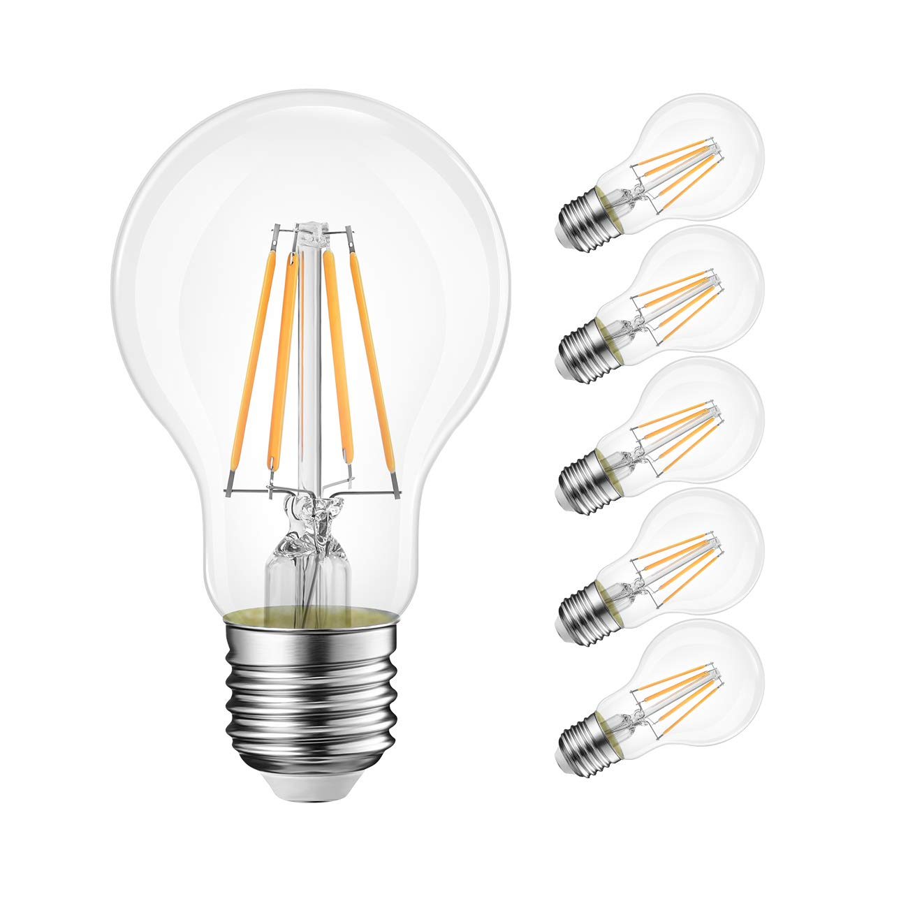LVWIT A19 Vintage Edison LED Filament Bulb E26 Base, 4W (40W Equivalent), Soft White 3000K, 470 Lumens, Non-Dimmable, 3 Year Warranty, UL-Listed, Pack of 6