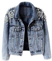 KEDERA Women's Embroidered Rivet Pearl Short Denim Jacket Coat