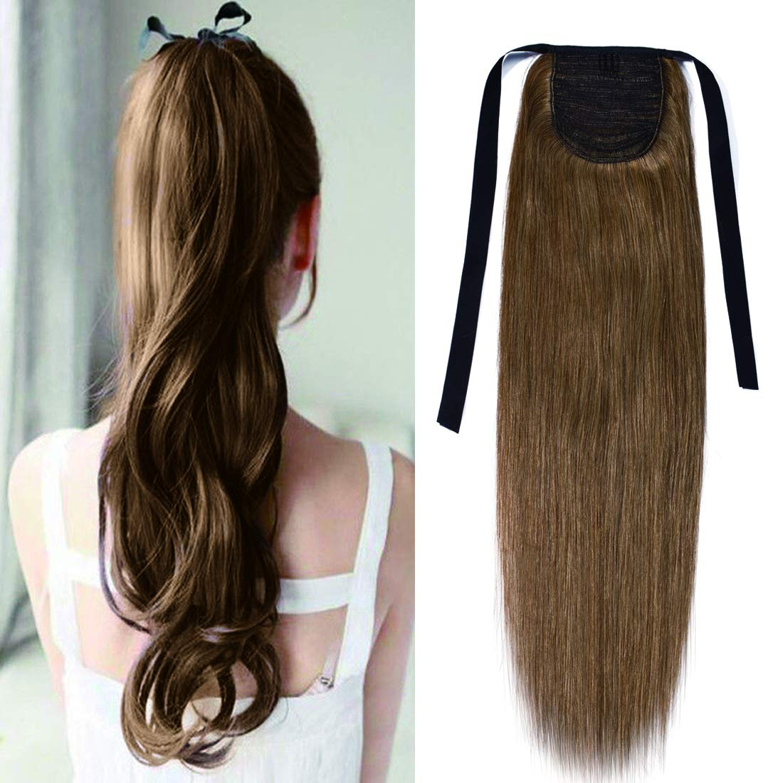 Tie Up Ponytail Extension Human Hair Pony Tails Hair Extensions Binding Ponytail Hair Extensions with Combs 100% Real Remy Hair Long Straight with Ribbon For Women #06 Light Brown 20 Inch 95g