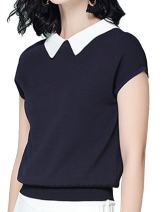 Aishang Womens Ribbed Blouse Peter Pan Collar Cap Sleeve Knit Waistband Shirt