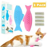gelugee Cat Catnip Toys for Cat Playing Chewing Teeth Cleaning - Cat Interactive Toys Refillable Catnip Pet Supplies for Kitten Kitty