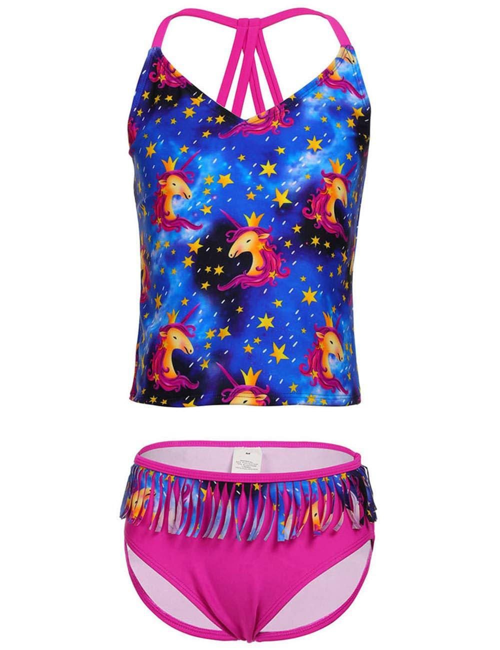 DUSISHIDAN Girls' Two Piece Tankini Swimsuit Sun Protection Bathing Suit, Tassel, Stripe,Rainbow