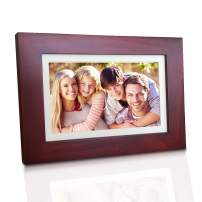 eco4life 8 Inches Cloud Digital Photo Frame with 1280x800 LCD IPS Display, 16:10 HD Touch Screen WiFi Digital Picture Frame, Full Angle View, 2GB Free Cloud Storage, Real Wood Frame