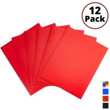 Red Pocket Folders, 2-Pocket File Folders (12 Pack) Plastic Folders with Labels, Two Pocket Folders, Letter Size File Folders with Pockets, School Folders, Colored File Folders