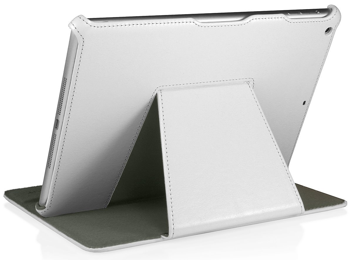 StilGut UltraSlim Case with Stand and Smart-Cover for Apple iPad Air, White Vintage