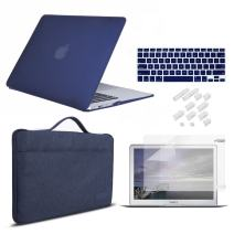 MacBook Air 13 Inch Case 2010-2017 Release Model A1369/A1466 Bundle 5 in 1, iCasso Hard Plastic Case, Sleeve, Screen Protector, Keyboard Cover & Dust Plug Compatible Old MacBook Air 13'' - Navy Blue