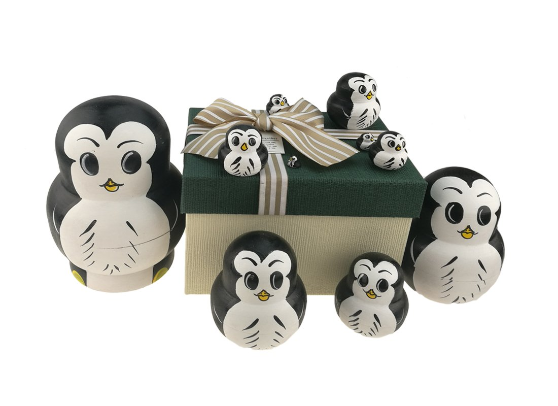 Set of 10 Big Belly Animal Penguin Wooden Handmade Nesting Dolls Matryoshka Russian Doll in a Box with Bow for Kids Toy Birthday Christmas New Year Gift Home Decoration
