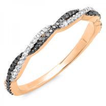 0.25 Carat (ctw) 10K Gold Round Black & White Diamond Swirl Wedding Stackable Band 1/4 CT