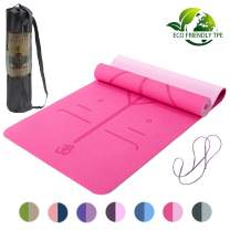Lixada Eco Friendly Non Slip Yoga Mat,Body Alignment System,SGS Certified TPE Pilates Exercise Material - Textured Non Slip Surface and Optimal Cushioning with Carrying Strap