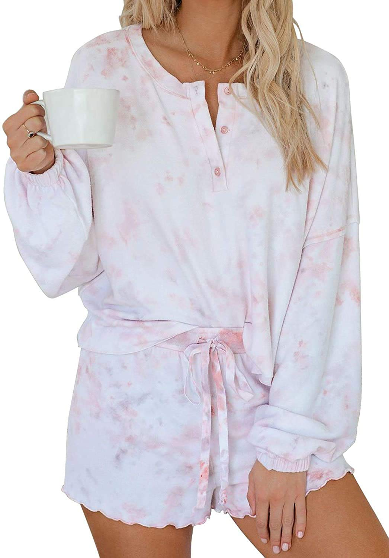 Yidarton Womens Pajamas Set Loungewear Nightwear Sleepwear Tie Dye PrintedRuffle