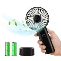 ELZO Mini Handheld Fan Portable, Hand held Personal Fan Rechargeable Battery Operated Powered Cooling Desktop Electric Fan with Base, 5200Mah Battery 3 Modes for Home Office Travel Outdoor (Black)