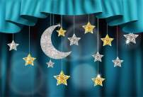 Laeacco Merry Christmas Backdrop Vinyl 5x3ft Blue Curtain Valance Stage Hanging Silver Glitter Moon Golden Star Decors Faint Bubbles Photo Background New Year Xmas Party Banner Child Baby Adult Shoot
