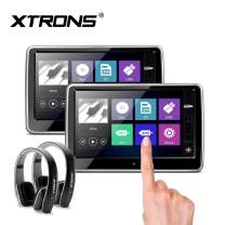 XTRONS 2X 10.1 Inch Pair HD Digital TFT Capacitive Touch Screen Car Headrest DVD Player 1080P Video Black New Version Headphones