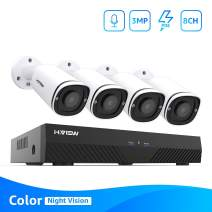 H.VIEW 8CH Full HD PoE Home Video Security System with 4pcs 3MP Full Time Color Night Vision Bullet PoE Camera, 24/7 Recording, Phone/PC Remote View,Easy to Install Yourself,No Include Hard Drive