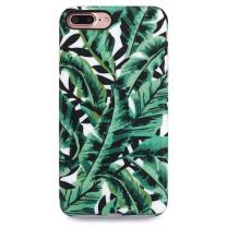 """GOLINK iPhone 7 Plus Case for Girls/iPhone 8 Plus Floral Case, Floral Series Slim-Fit Anti-Scratch Shock Proof Anti-Finger Print Flexible TPU Gel Case for iPhone 7/8 Plus 5.5"""" - Green Leaf"""