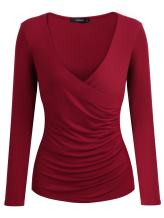 Mixfeer Women's Deep V Neck T-Shirt Cross Front Ruched Slim Fit Pullover Wrap Tops with Long Sleeve