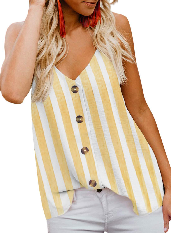 Chase Secret Women's V Neck Cami Tank Floral Print Tops Sleeveless Blouse Shirts