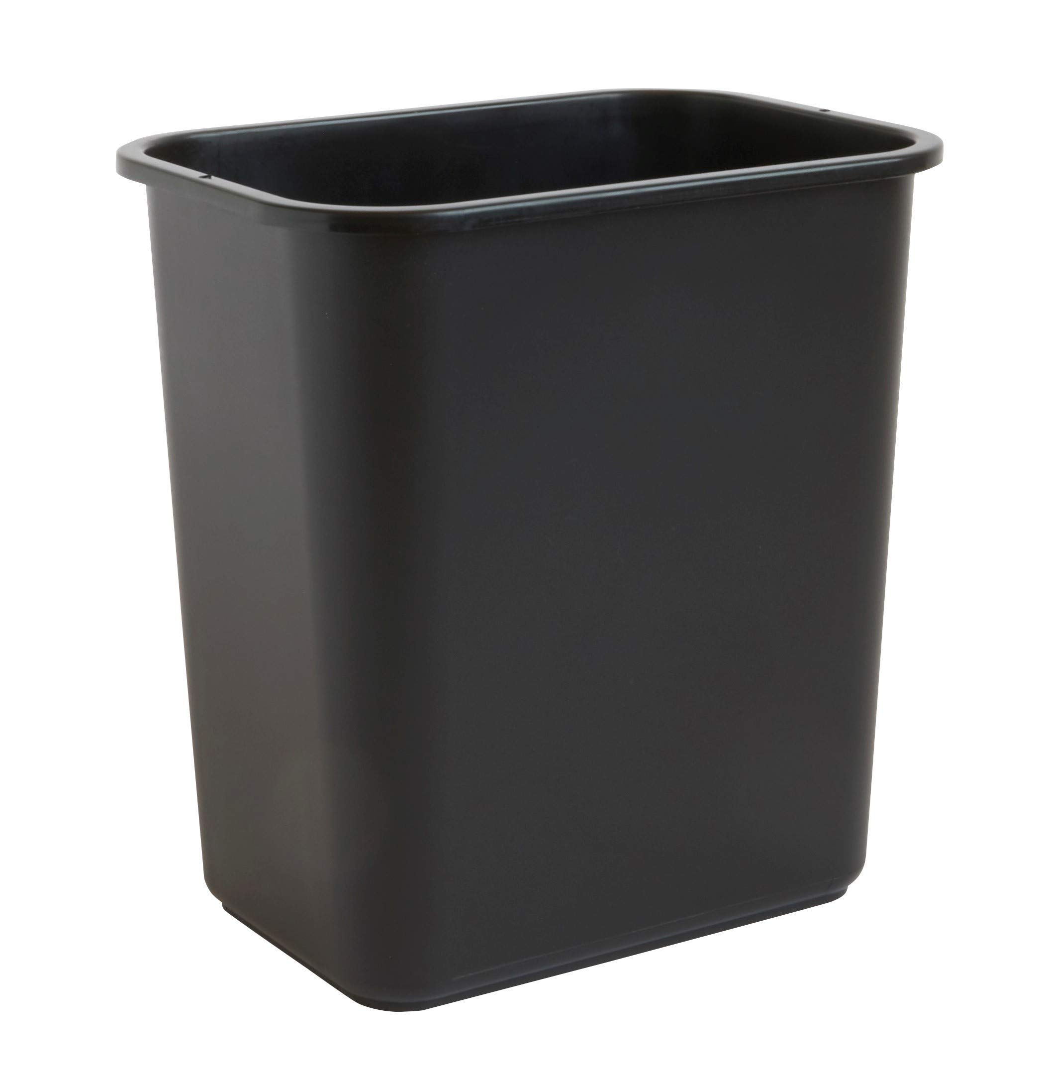 United Solutions 7 Gallon/28 Quart Space-Efficient Trash Wastebasket   Pack of 12   Fits Under Desk   Small, Narrow Spaces in Commercial Office, Kitchen, Home Office, Dorm   Easy to Clean   Black