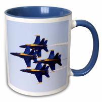 3dRose Angels at Air Show Two Tone Blue Mug, 11 oz, Multicolor