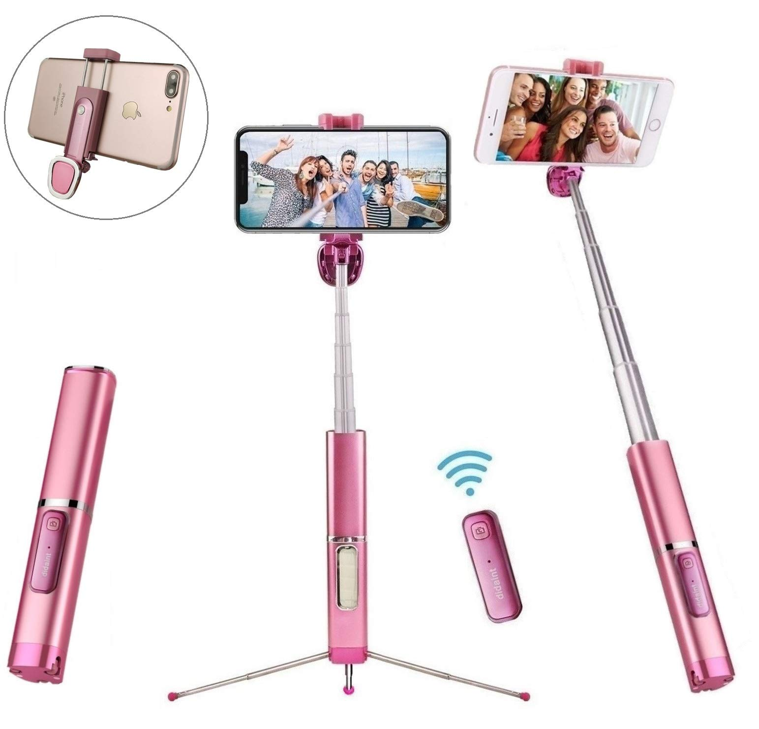 Selfie Stick Bluetooth, Mini Extendable 3 in 1 Aluminum Selfie Stick Tripod with Detachable Wireless Remote and Tripod Stand, for iPhone 11 Pro/XS Max/XR/XS/X/8/7 Plus, Galaxy and Smart Phone (Pink)