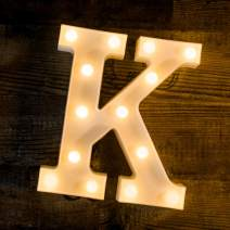 Foaky LED Letter Lights Sign 26 Alphabet Light Up Letters Sign for Night Light Wedding Birthday Party Battery Powered Christmas Lamp Home Bar Decoration (K)