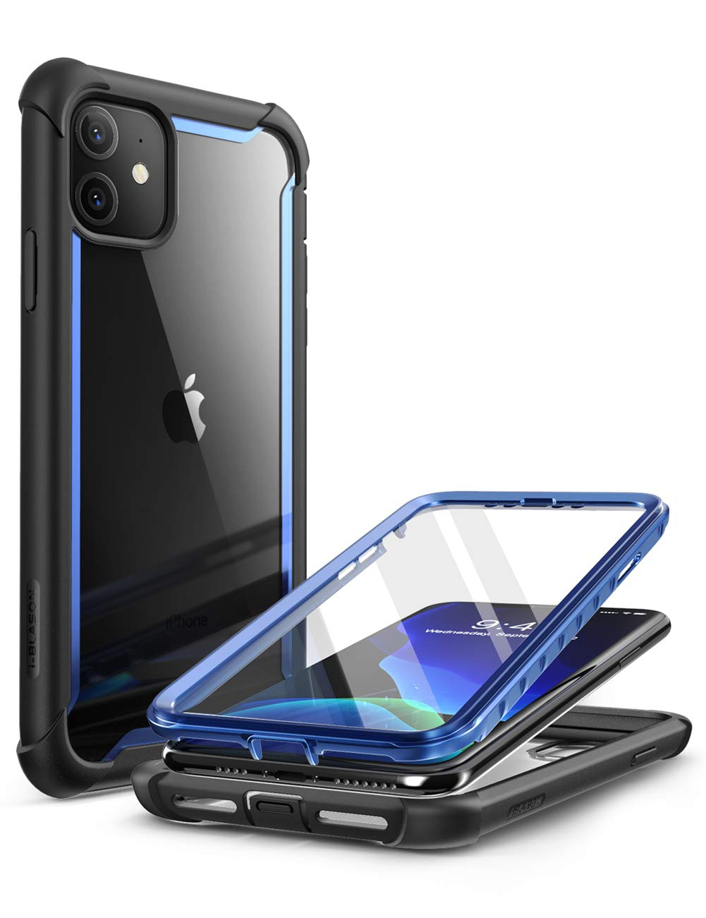 i-Blason Ares Case for iPhone 11 6.1 inch (2019 Release), Dual Layer Rugged Clear Bumper Case with Built-in Screen Protector (Blue)
