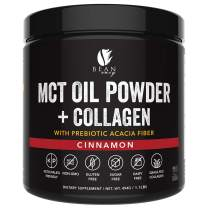 MCT Oil Powder + Collagen + Prebiotic Acacia Fiber - 100% Pure MCT's - Perfect for Keto - Energy Boost - Nutrient Absorption - Appetite Control - Healthy Gut Support - Cinnamon